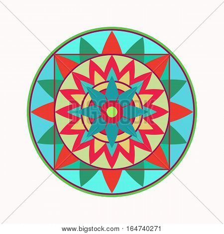 Mandala tattoo icon. Geometric round stylized ornament. Harmony, luck, infinity symbol. Blue, red, yellow colored. Vector