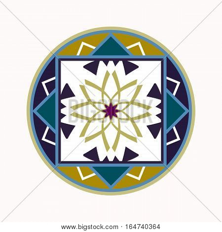 Mandala tattoo icon. Geometric round stylized ornament. Harmony, luck, infinity symbol. Violet, green, white colored. Vector