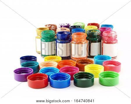 colorful of bottles poster color with blank label and caps isolated on white background