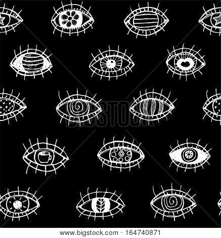 Eye tileable backdrop, monochrome black and white sketch textured doodle design. Vector illustration.