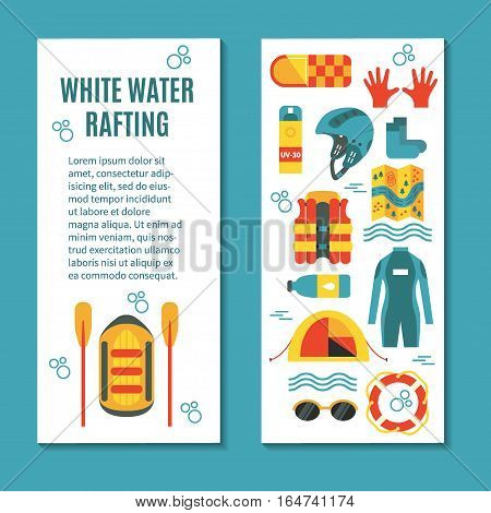 Colourful vertical banner template for white water rafting with patterned backside and place for text. Vector illustration, flat design. Icons for map, vest, tent, raft and oars, helmet, lifebuoy, sunglasses etc.