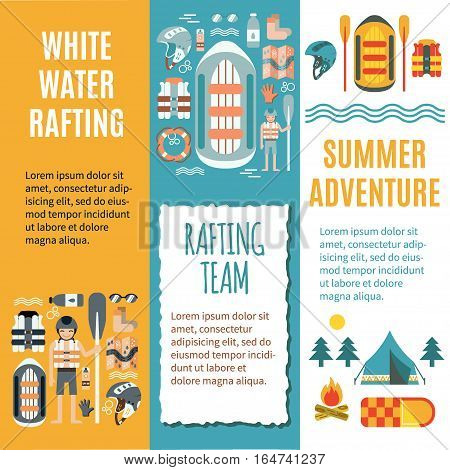 Modern set of verticall banner template for white water rafting. Colorful vector illustration, flat design. Icons for map, campfire, tent, raft and oars, stopwatch etc. Could be used for ads or web.