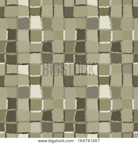 Seamless geometric mosaic checked pattern. Background of woven rectangles and squares. Patchwork, ceramic, tile texture. Khaki, green, gray colors. Vector