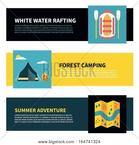 Modern set of horizontal web banners with buttons for rafting, camping or other summer activities. Colorful vector illustration, flat design. Icons for map, campfire, tent, raft and oars, stopwatch etc.