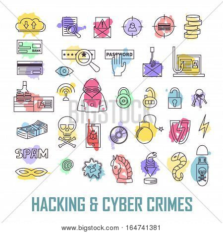 Hacking and cyber crime vector icon set. Hacker's activities, gadgets, viruses, locks, fraud, fishing, cracks, e-mail spam etc. Computer attack infographic elements. Linear art.
