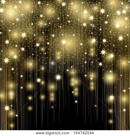 Salute elements background isolated pattern. Star splashes, blurred spots, vertical golden lines, glittering space dust, magic cosmic rays, bright shimmer beams isolated on black vector illustration