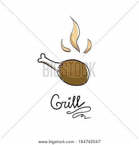 Grilled chicken leg. Hand drawn tasty hot leg