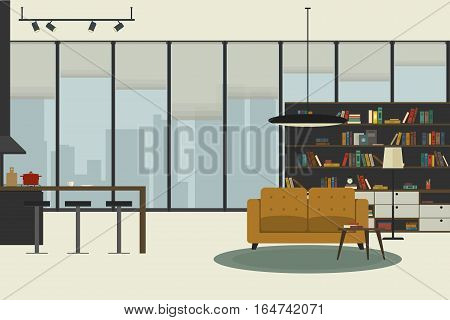 Apartment inside in flat style. Open space living room in apartment with furniture. Vector illustration banner with lounge zone and kitchen.