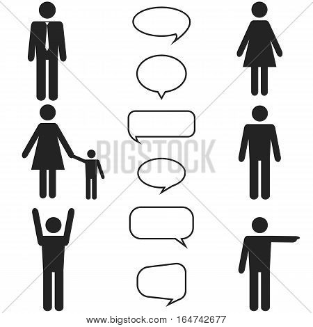 people black icons and speech bubbles set