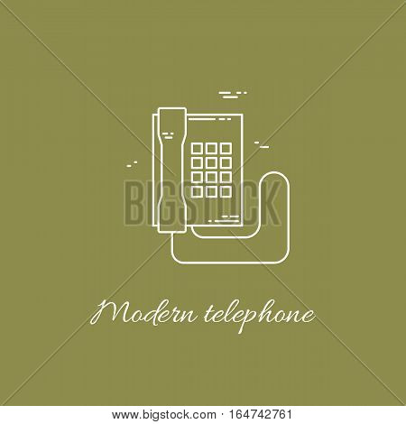 Vector illustration of communication device - modern phone icon. Cell symbol silhouette isolated. Line style.