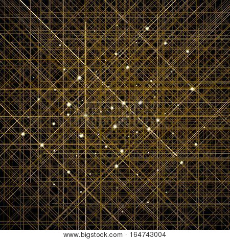 Background with thin golden crossed lines. Cellular structure of contours with shining sparkles. Glittering stars in the centers of crossing. Glossy abstract decoration for banners and posters