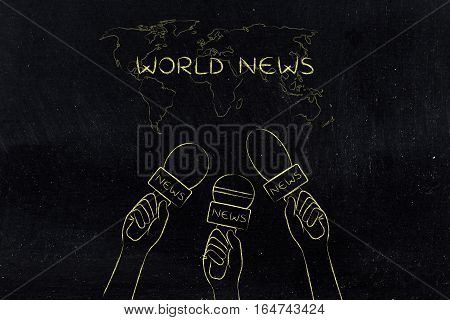 Reporters Microphones On World Map, News Coverage & Headlines Concept