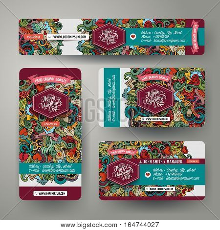 Corporate Identity vector templates set design with doodles hand drawn Love theme. Colorful banner, id cards, flayer design. Templates set