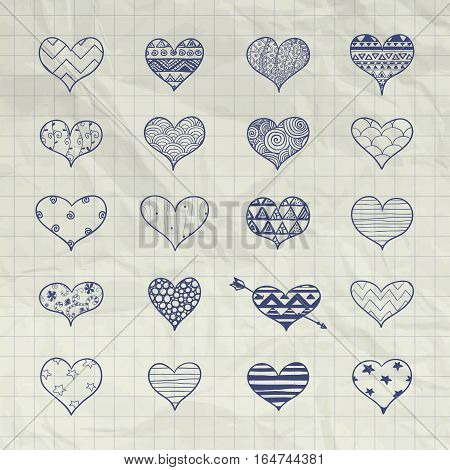 Set of Hand Drawn Heart Shapes with Doodle Patterns. 14 February Valentine Day Vector Illustration on Crumple Notebook Texture. Pen Drawing Hearts Graphic with Aztec, Stars, Swirls, Zigzag, Lines, Circles, Triangles, Dots Ornaments.