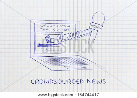 Microphone Out Of Laptop Screen With Video Upload, Crowdsourced News
