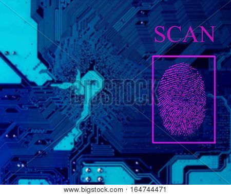 Fingerprint scanning for secure access. blue microcircuit, computer and electronic modern background.
