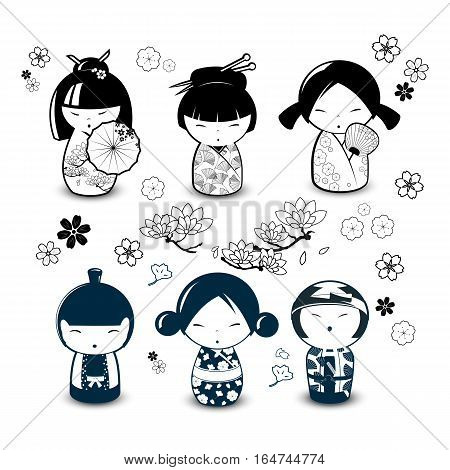 Set of  Japanese dolls Kokeshi in black and white style