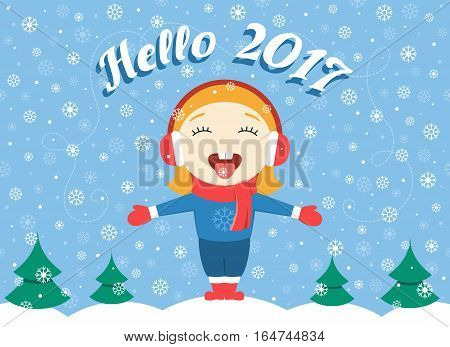 flat design vector illustration of cute little girl standing in the park on a winter day greeting New Year and catching snowflakes, heavy snow. Winter card