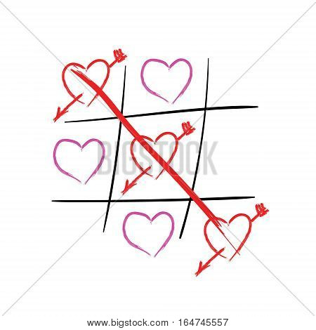 Tic tac toe hearts. Happy valentines day card