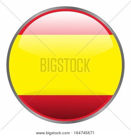 Spain Flag. Round Glossy Isolated Vector Icon With National Flag Of Spain On White Background.