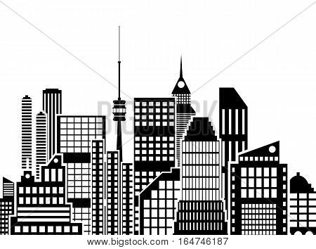 Modern City View. Cityscape with office and residental buildings, television tower, white and black color. vector illustration in flat style