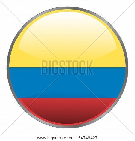 Colombia Flag. Round Glossy Isolated Vector Icon With National Flag Of Colombia On White Background.