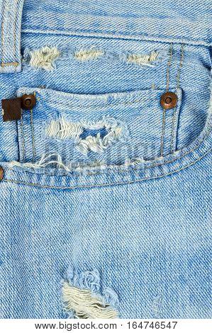 Light Blue Vintage Jeans With Destroyed Pocked