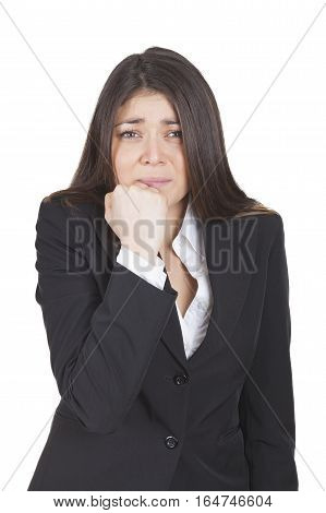 Worried Businesswoman Gesturing