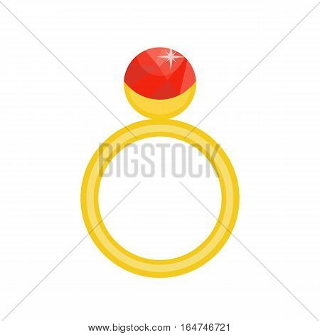 Precious jewelry. Gemstone and gold . Vector illustration of pendant. Precious accessory for women. Flat cartoon style