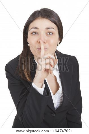 Businesswoman Gesturing Silence