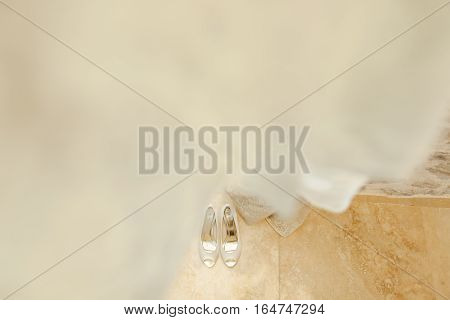 fancy wedding shoes. Bridal shoes top view