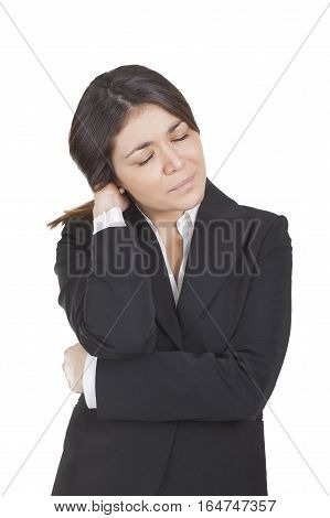 young businesswoman with dark dress painful headache