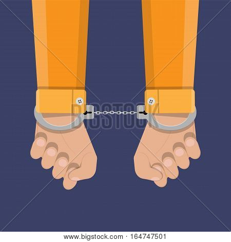 human hands in silver handcuffs. vector illustration in flat design