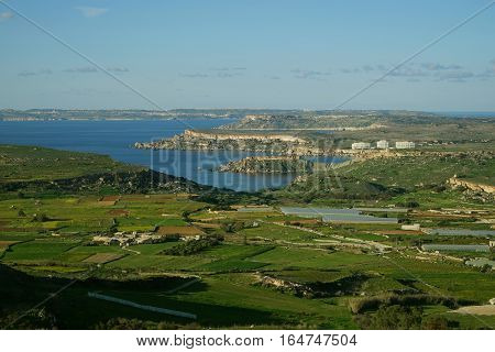 Panoramic view of winter Malta. Winter Malta's landscape general view. Horizontal.