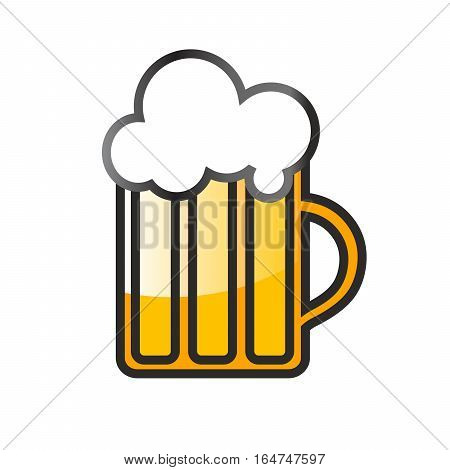 Glass mug of beer on a white background. High glossy glass of light beer with foam