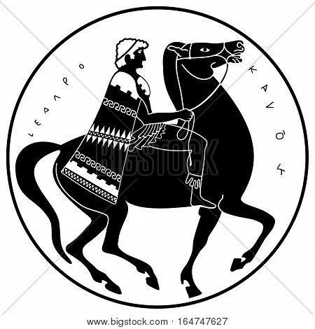 Greek style drawing. Soldier in uniform with a cape riding a horse.. Black pattern isolated on white background.