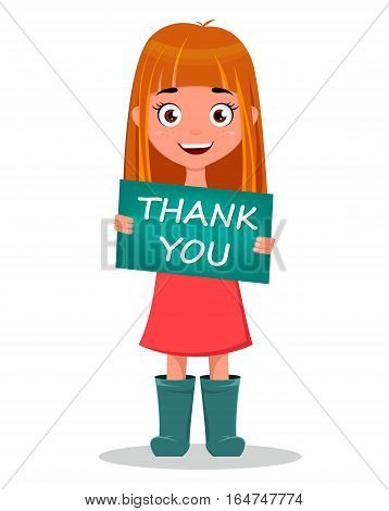 Cute funny smiling cartoon girl holding sign