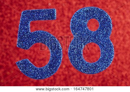 Number fifty-eight blue color over a red background. Anniversary. Horizontal