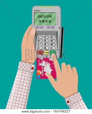 hand enters a pin code for a Bank card on the payment pos terminal. vector illustration in flat style