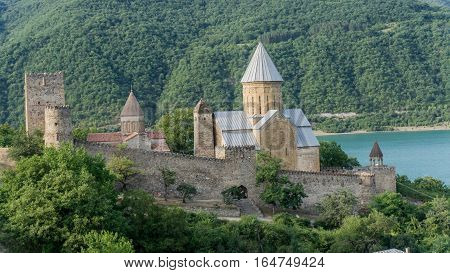 Ananuri, Georgia - August 5, 2015: View from Ananuri, a church and castle complex from Georgia