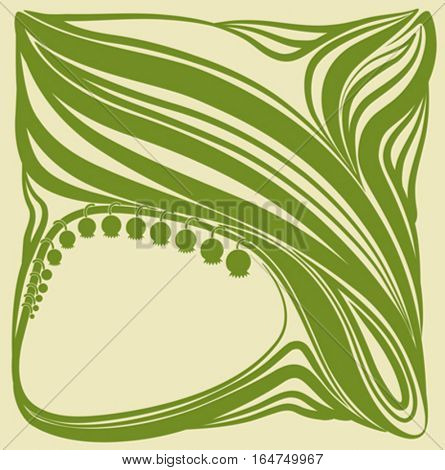 Lilies of the valley. Floral frame. Beautiful vector illustration.