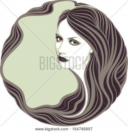 Long-haired girl. Vector illustration.