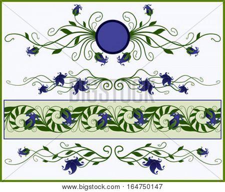 Floral elements, frame and border. Vector illustration.