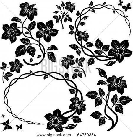 Floral elements for design. Vector illustration.