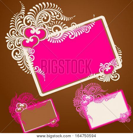 Abstract Valentine frame with Hearts. Vector illustration.
