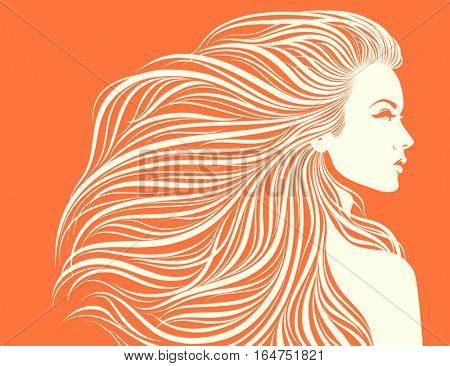 Long-haired sexy girl. Vector illustration.