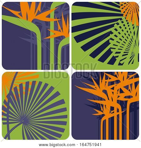 Stylized floral design elements. Vector illustration.