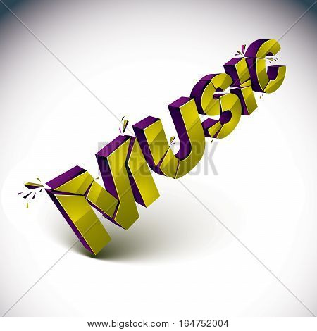 3D Music Word Broken Into Pieces, Demolished Vector Design Elements. Shattered Golden Art Stylish In