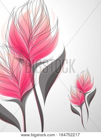 Vriesea. Shiny soft pink flowers. Vector illustration.