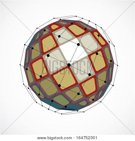 3D Vector Digital Wireframe Spherical Object Made Using Facets. Geometric Polygonal Colorful Structu